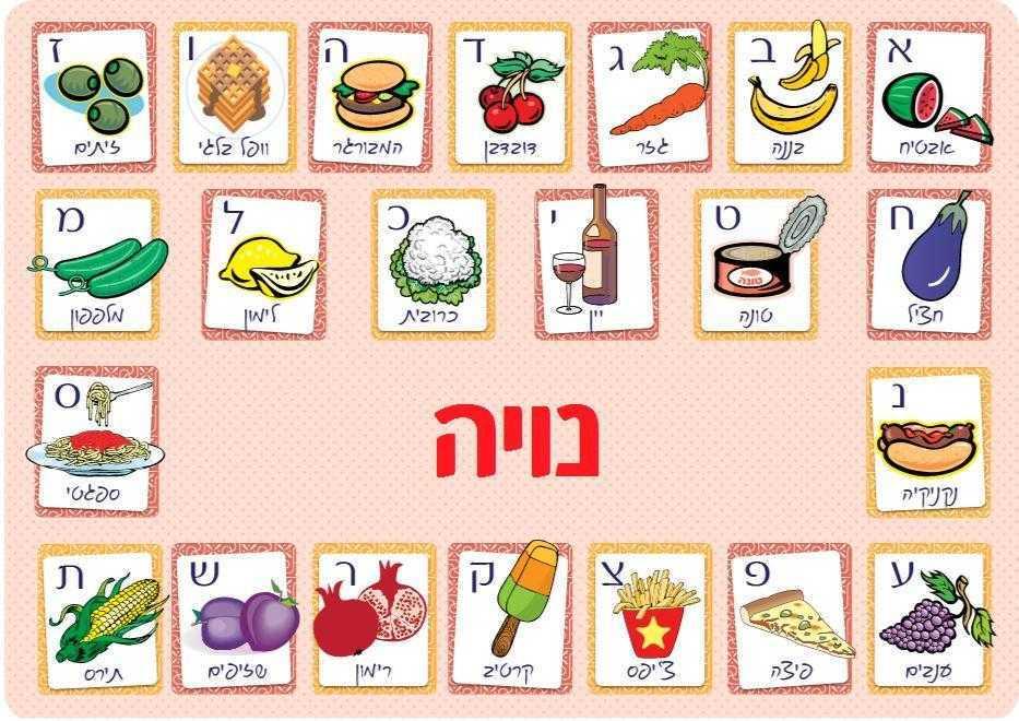 פלייסמנטים לילדים - אותיות עברית ורוד