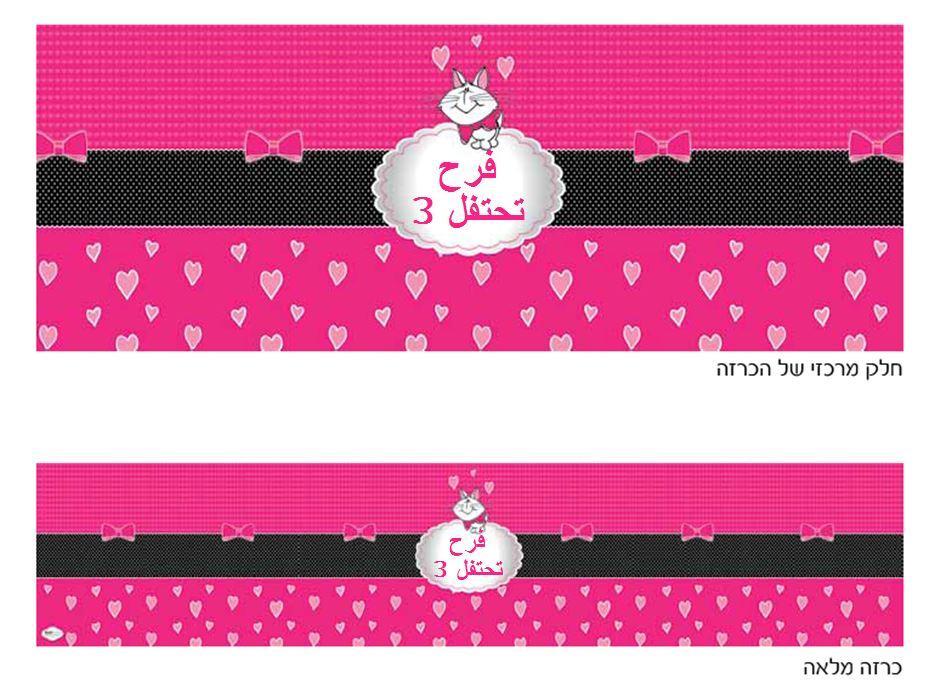 ملصق كبير لعيد ميلاد (כרזה ענקית ליומולדת בערבית) - יום הולדת חתול ורוד (בערבית)
