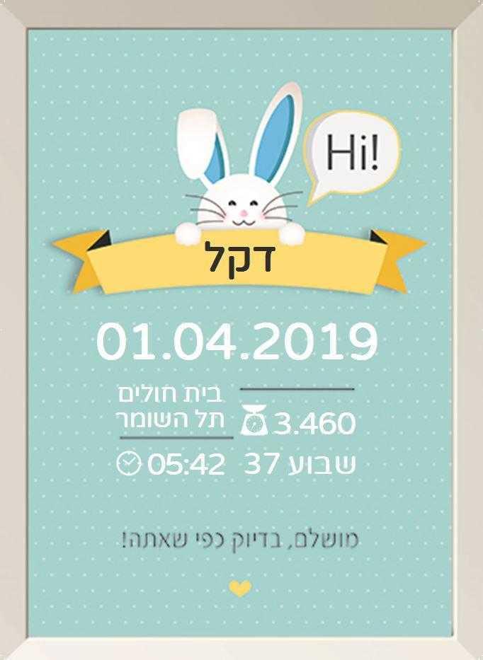 תעודות לידה מעוצבות - ארנבי כחול