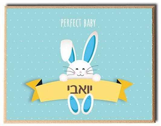 שלט דלת לחדר - ארנבי כחול