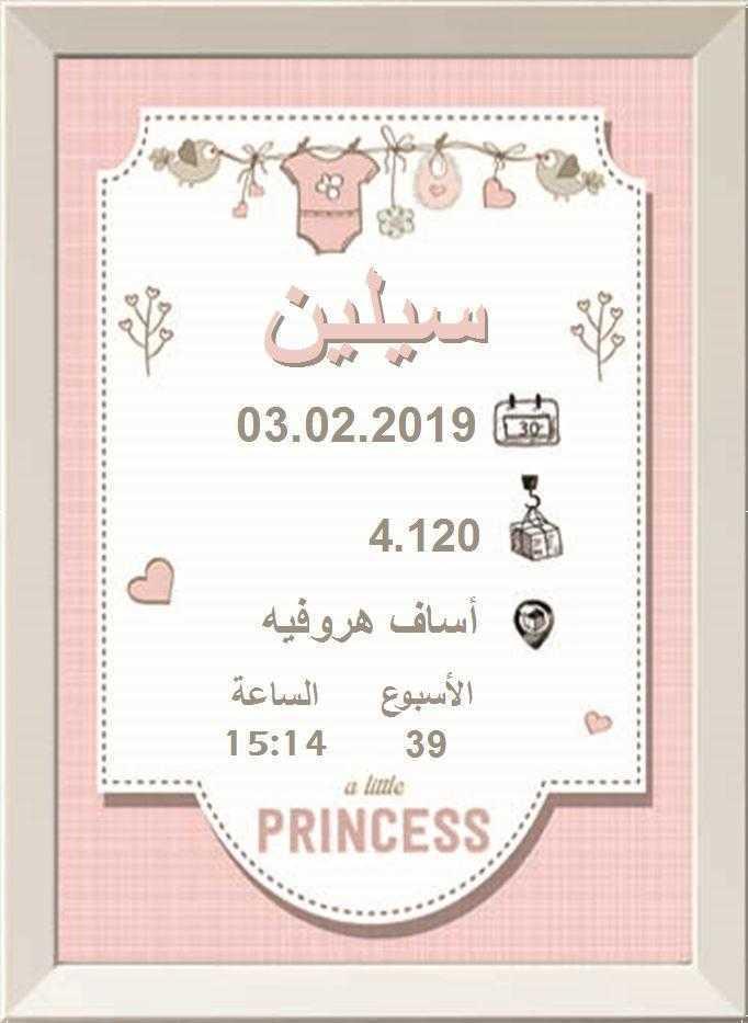 شهادة ميلاد مزخرفة  (תעודות לידה בערבית) - أميرة وردية (נסיכה בורוד בערבית)