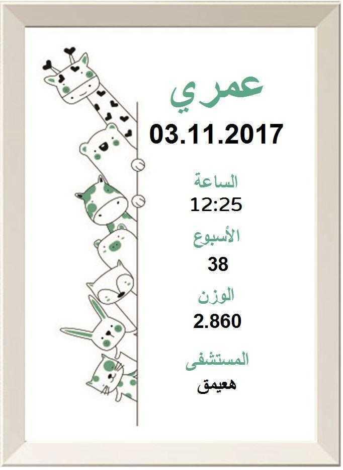 شهادة ميلاد مزخرفة  (תעודות לידה בערבית) - מציצים בירוק בערבית
