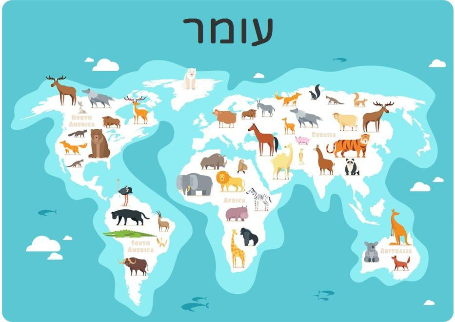 פלייסמנטים לילדים - חיות על המפה