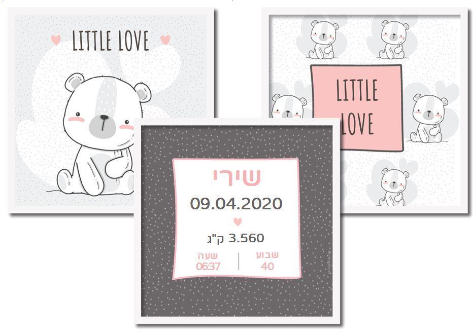 תעודות לידה מעוצבות - אהבת דובונים בורוד
