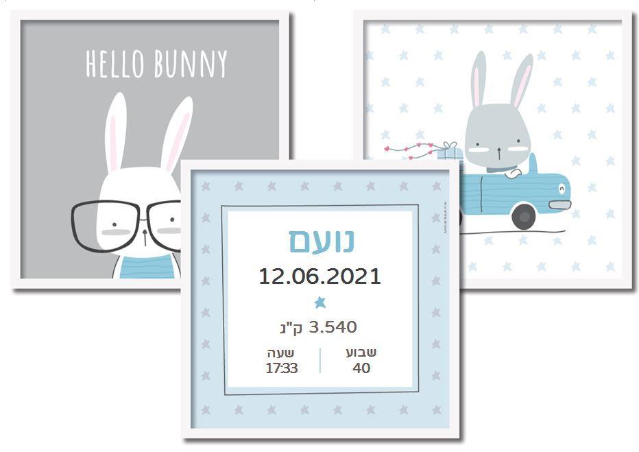 תעודות לידה מעוצבות - שלום ארנבון כחול